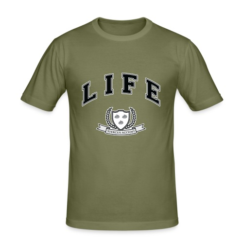 Life University - Shit Happens - Athletics Logo - Men's Slim Fit T-Shirt