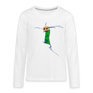 ein L auf weißem Kinderpullover - Teenager Premium Langarmshirt