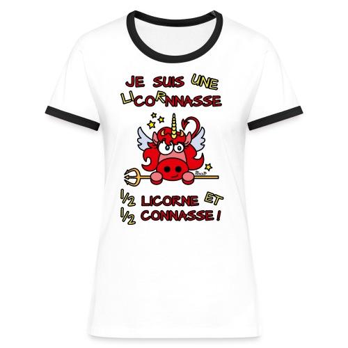 T-shirt contr Femme LicornNASSE Moitié Licorne moitié C... - T-shirt contrasté Femme