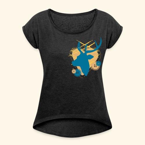 Frauen Rollarmshirt Hirsch mit Knöpfen - Frauen T-Shirt mit gerollten Ärmeln