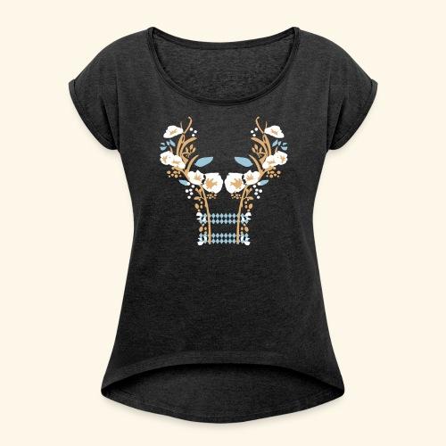 Frauen Rollarmshirt Blumenranken - Frauen T-Shirt mit gerollten Ärmeln