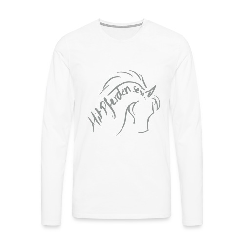 Proud Horse, Men Longsleeve ( Print Digital Grey) - Männer Premium Langarmshirt