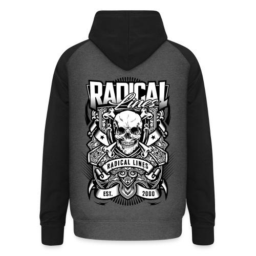 Radical lines baseball hoodie grey black - Unisex Baseball Hoodie