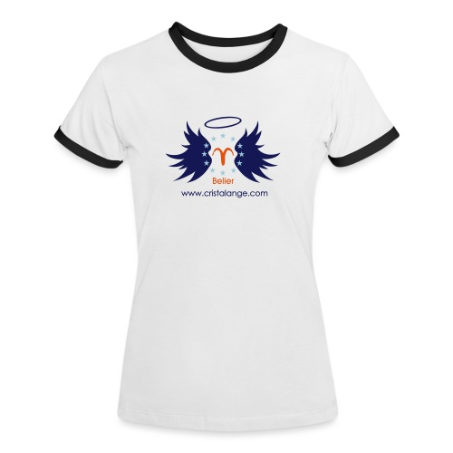 Tee shirt contraste Femme Signe du Bélier by Cristalange - Women's Ringer T-Shirt