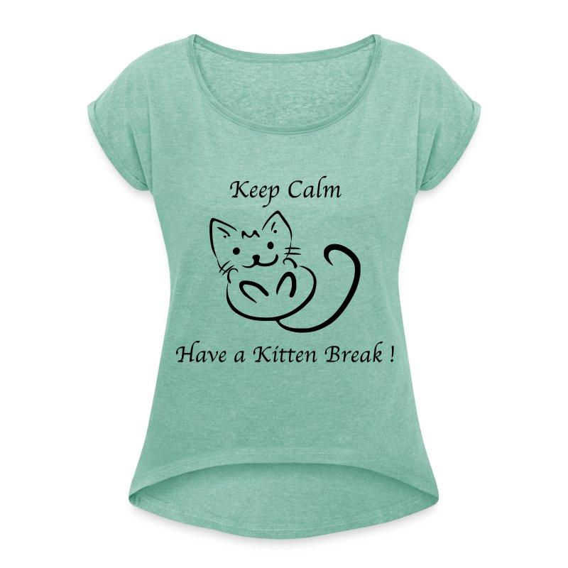 T-shirt Femme à manches retroussées Nuréa TV Kitten Break - T-shirt à manches retroussées Femme