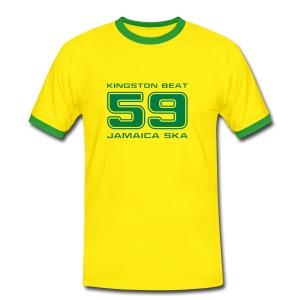 gelb-grünes Shirt Kingston Beat 59 mit Kontraststreifen - Männer Kontrast-T-Shirt