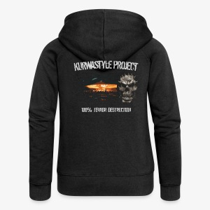 Kurwastyle Project - 100% Terror Destruction Women's Zip Hoodie - Women's Premium Hooded Jacket