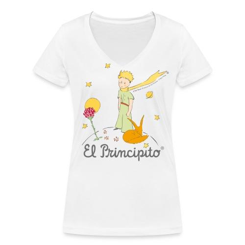 Der kleine Prinz mit Fuchs und Rose - Frauen Bio-T-Shirt mit V-Ausschnitt von Stanley & Stella