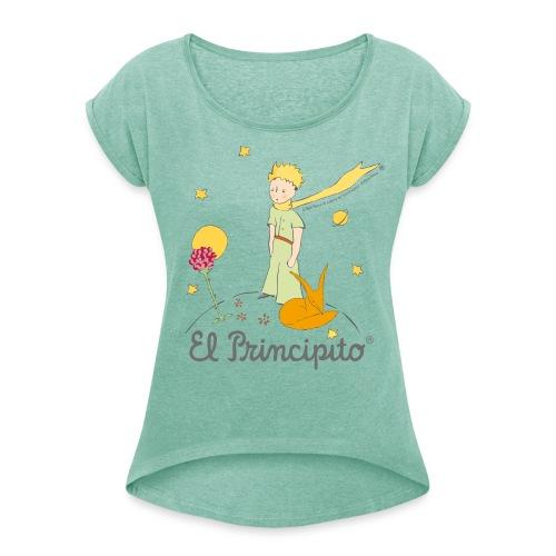 Der kleine Prinz mit Fuchs und Rose - Frauen T-Shirt mit gerollten Ärmeln