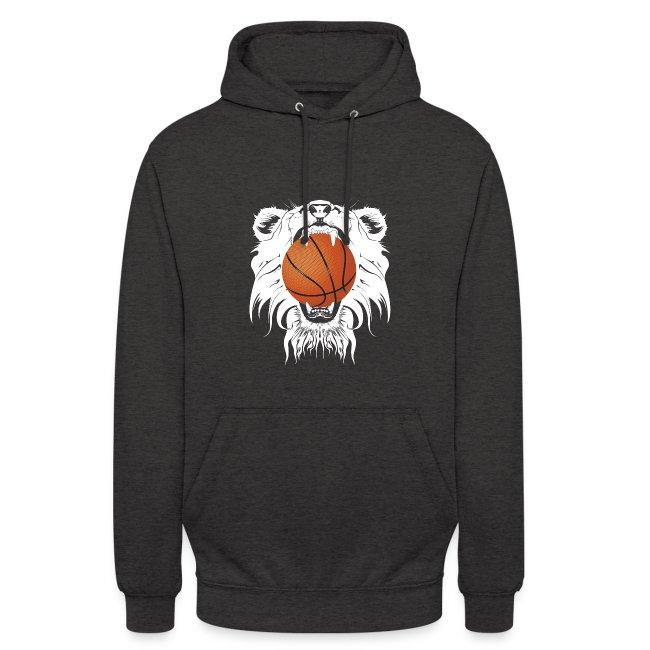 Sweat à capuche logo blanc Recto tête Lion Verso Logo