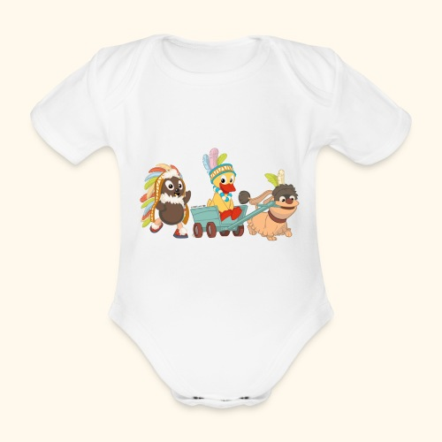 Baby Kurzarm-Body Indianerfreunde Pittiplatsch, Schnatterinchen & Moppi - Baby Bio-Kurzarm-Body