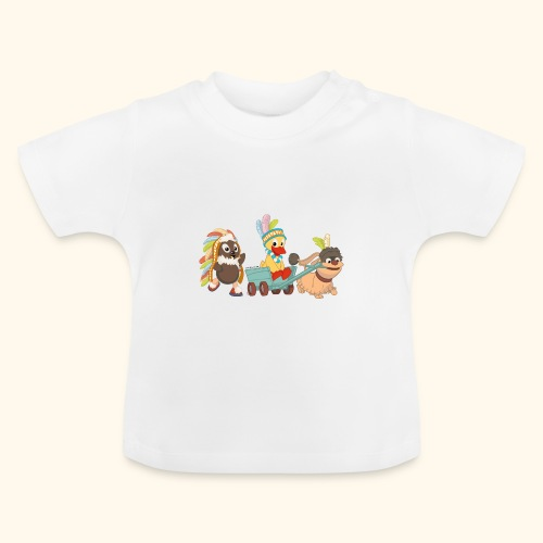 Baby T-Shirt Indianerfreunde Pittiplatsch, Schnatterinchen & Moppi - Baby T-Shirt