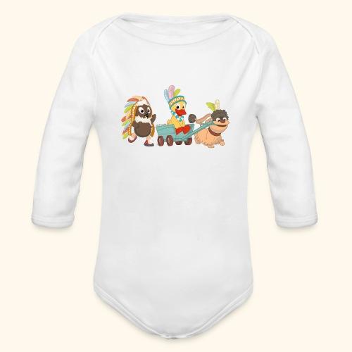 Baby Langarm-Body Indianerfreunde Pittiplatsch, Schnatterinchen & Moppi - Baby Bio-Langarm-Body