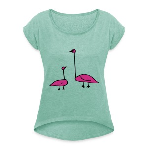 Doodle, Funny Birds, Baby and Parent T-Shirts - Women's T-shirt with rolled up sleeves