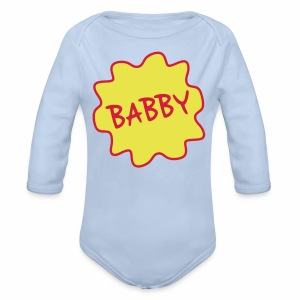 Babby, Manchester Dialect Baby Babygrow - Organic Longsleeve Baby Bodysuit