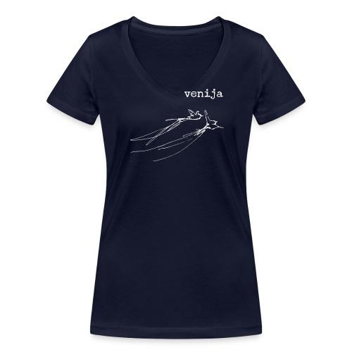 venija Damen - Frauen Bio-T-Shirt mit V-Ausschnitt von Stanley & Stella