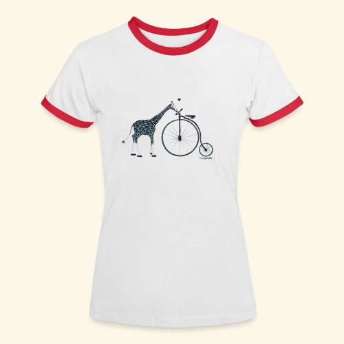Jacque Giraffe and the bike of Love! - Frauen Kontrast-T-Shirt