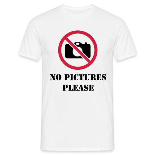 NO PICTURES PLEASE WHITE - Mannen T-shirt