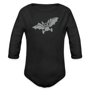 Baby Bio-Langarm-Body - Motiv: Fledermaus, einfarbig, Flockdruck