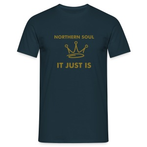 It Just Is - Matte Gold on Blue with Crown.  - Men's T-Shirt