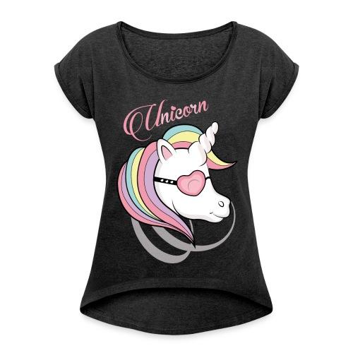 """T-shirt Femme Unicorn"""" - T-shirt à manches retroussées Femme"""