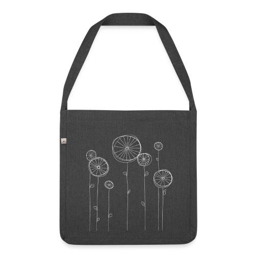 Radblumen, dunkle Stofftasche - Schultertasche aus Recycling-Material