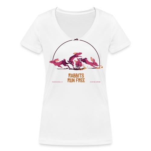 Run free, weiß, V-Shirt Frauen - Frauen Bio-T-Shirt mit V-Ausschnitt von Stanley & Stella