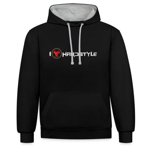 I Love Hardstyle Hoodie - Contrast Colour Hoodie