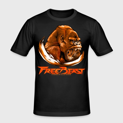 VINRECH CLOTHING - FREE BEAST - GORILLA BROWN - T-shirt Homme - T-shirt près du corps Homme