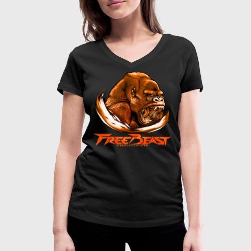 VINRECH CLOTHING - FREE BEAST - GORILLA BROWN - T-shirt Femme - T-shirt bio col V Stanley & Stella Femme