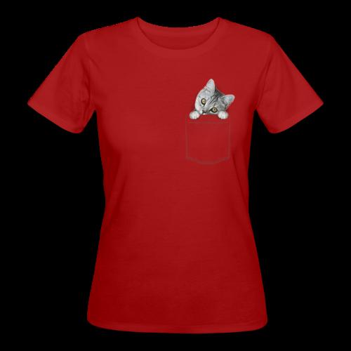 Katze guckt aus der Tasche - Frauen Bio-T-Shirt