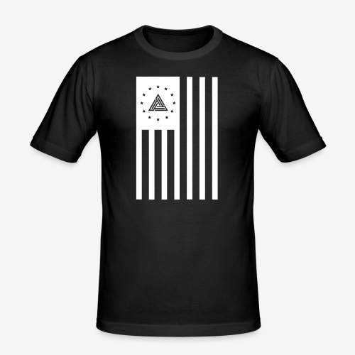 FLAG TEE WHT ON BLK - Men's Slim Fit T-Shirt