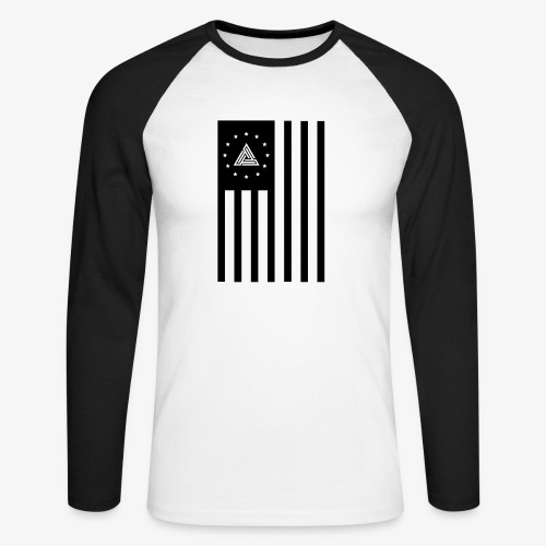 FLAG BASEBALL TEE BLK ON WHT - Men's Long Sleeve Baseball T-Shirt