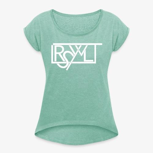 T-Shirt mit umgekrempelten Ärmeln im LRSWLT Design - Frauen T-Shirt mit gerollten Ärmeln