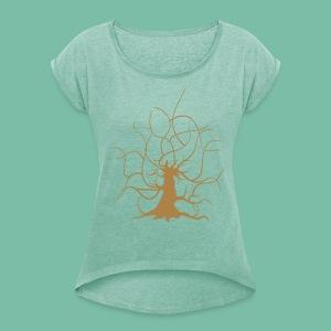 T-shirt femme motif arbre Brocéliande - T-shirt à manches retroussées Femme