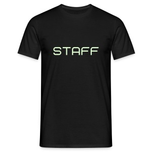 Mens ' Staff ' Tee v1 Black / Glow in the Dark Flex Print - Men's T-Shirt