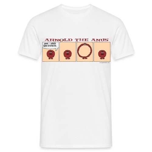 Arnold the Anus Stretching - Men's T-Shirt