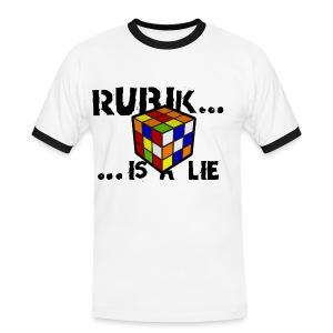 rubik is a lie - camiseta chico cuello - Camiseta contraste hombre