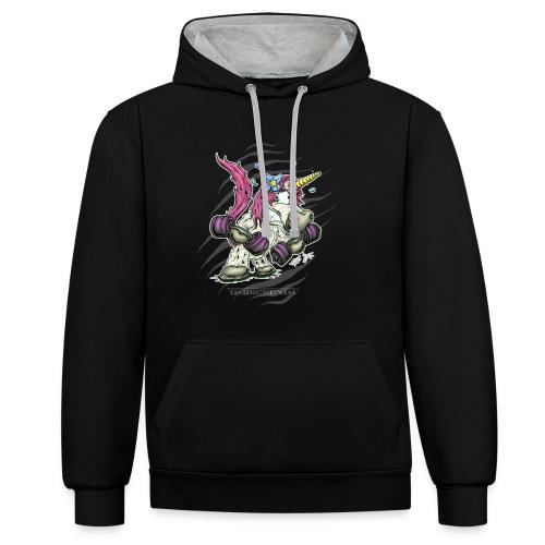 train like a unicorn - Kontrast-Hoodie