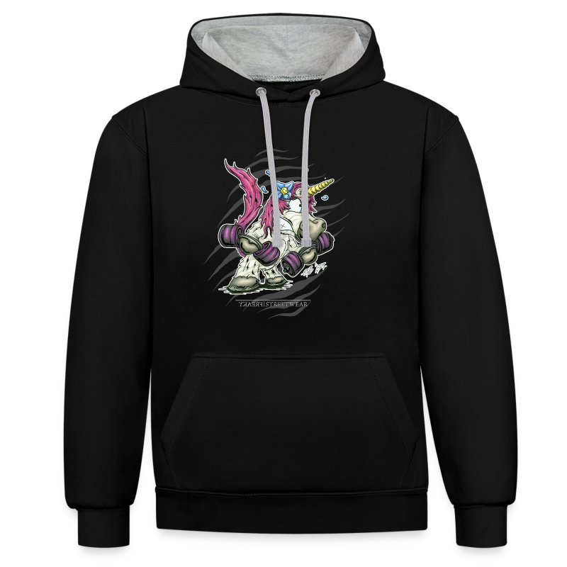 train like a unicorn - Kontrast-Hoodie