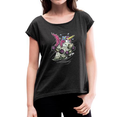train like a unicorn - Frauen T-Shirt mit gerollten Ärmeln