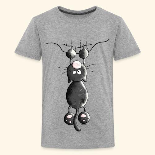 Camiseta con Gato agarrándose-Niño y Niña 9 a 12 años - Camiseta premium adolescente