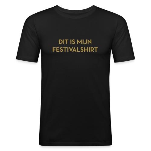 Festivalshirt mannen slimfit goudglitter - slim fit T-shirt