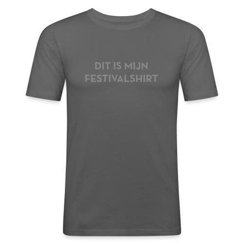 Festivalshirt mannen slimfit zilverglitter - slim fit T-shirt