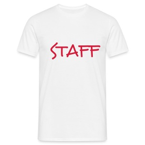 Mens ' Staff ' Tee v4 White / Red Flex Print - Men's T-Shirt
