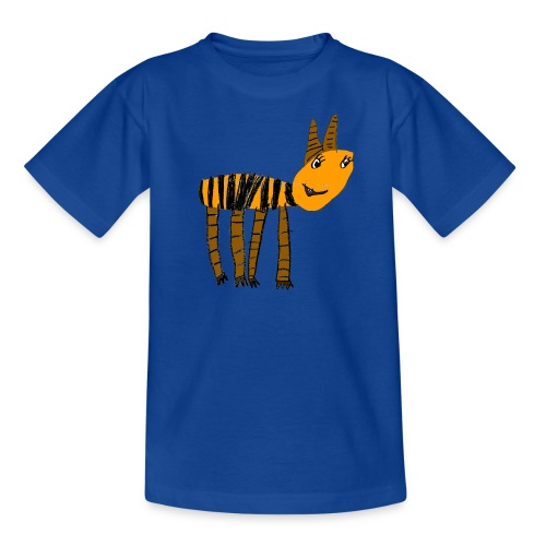 Streifentier auf blauem Kindershirt - Teenager T-Shirt