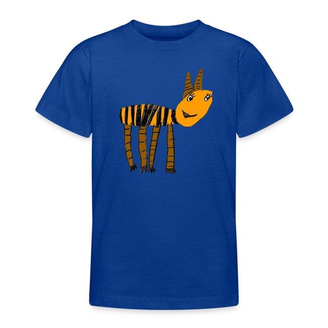 Streifentier auf blauem Kindershirt