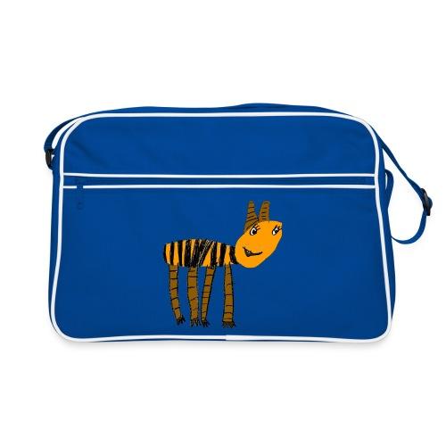 Streifentier auf blauer Tasche - Retro Tasche