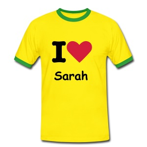 I HEART - SARAH t-shirt - Men's Ringer Shirt