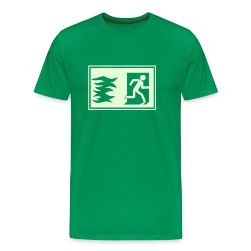 Grünes T-Shirt mit Notausgang leuchtet im Dunkeln - Männer Premium T-Shirt